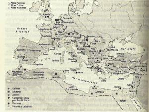 Figura 1: Mapa del Imperio romano con los principales asentamientos de auxilia hispánicos (según Abascal 2009c: 304).